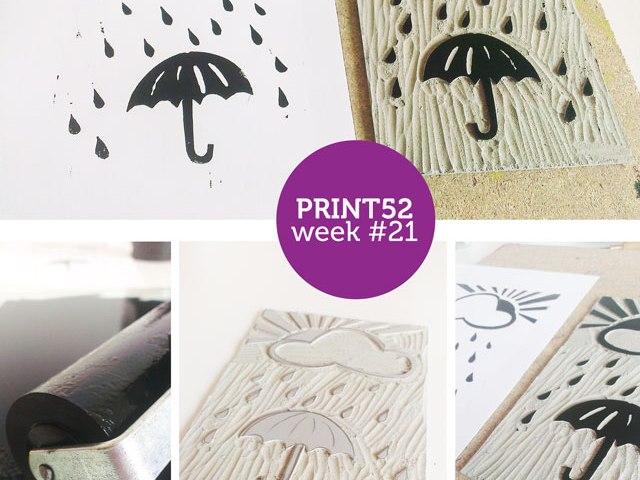 print 52 rain lino print