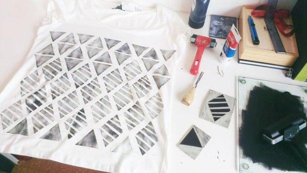 fabric linoprinting