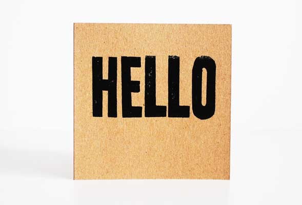 handprinted hello card