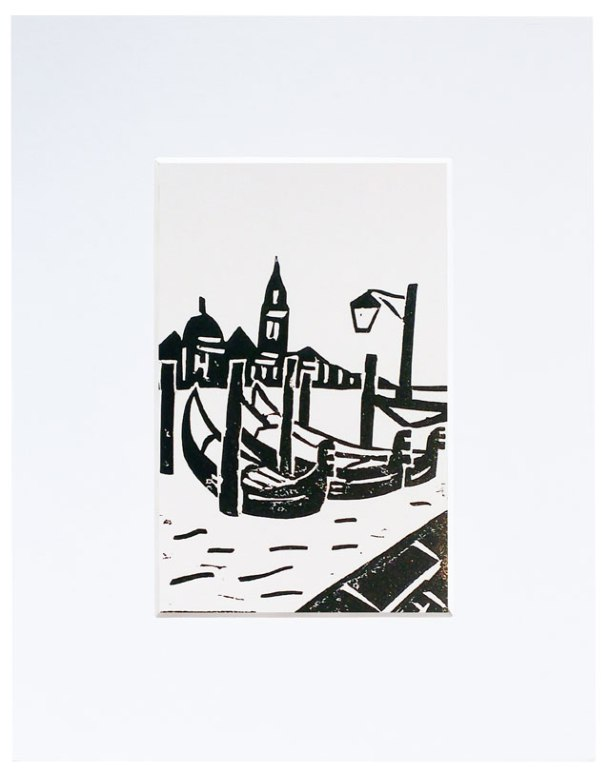 venice gondola linoprint