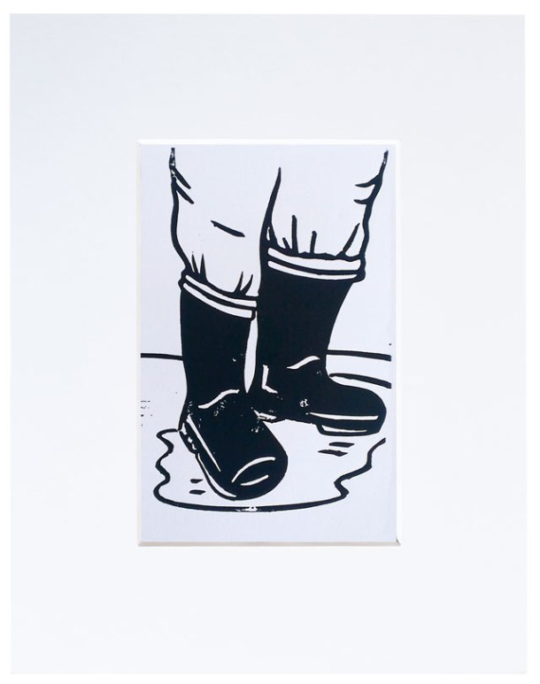 wellies lino print