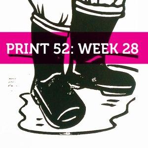 wellies lino print