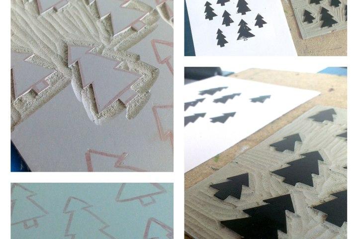 Christmas tree linoprint
