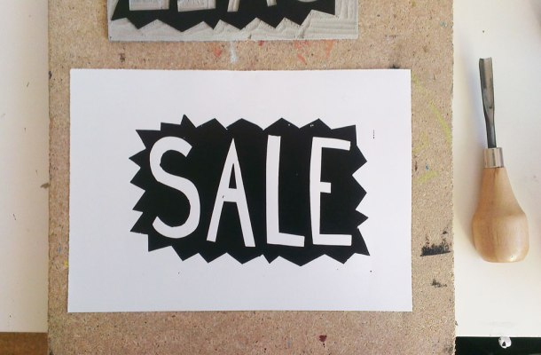 lino print sale sign