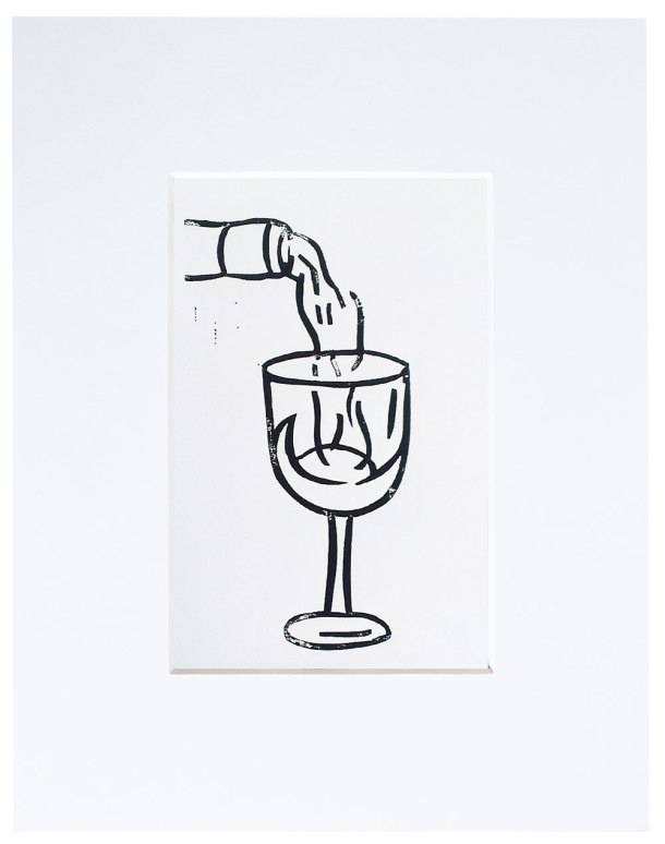 wine glass linoprint