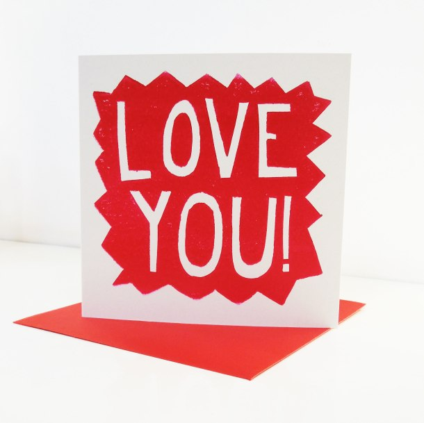 hand printed valentines day card