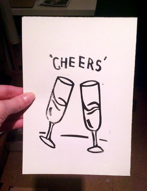 champagne linoprint