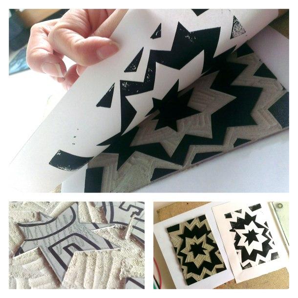 diagonal lino print