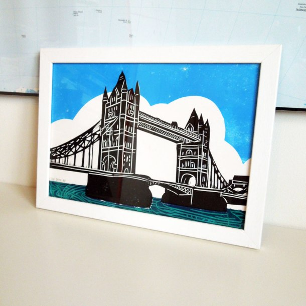 tower bridge linoprint