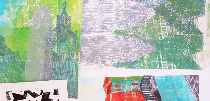 experimental lino print